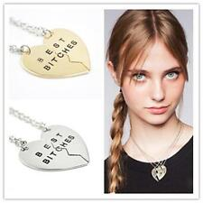 Unique BEST BITCHES 2 Friends BFF Pendant Friendship Necklace Gifts-Gold/Silver