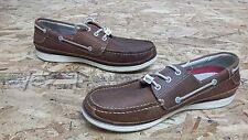 New Mens Chaps Windrow (96-33107) Brown Leather Boat Oxford Shoes (J202)