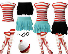 NEW LADIES GIRLS FANCY DRESS RED & WHITE T-SHIRT OUTFIT SKIRY BOOK DAY HALLOWEEN