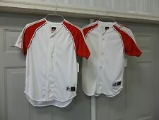 2 ALLESON BASEBALL SHORT SLEEVE SHIRT JERSEY BUTTON WHITE YOUTH BOYS LARGE L NEW