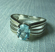 1.5ct Natural Blue Topaz 925 Sterling Silver Solitaire Ring