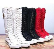 Women Sneaker Punk Rock Gothic Canvas High Knee Lace Up Boots Sports Shoes - SS