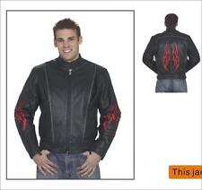 Mens Motorcycle Racer Black Leather Jacket With Flames Great Deal