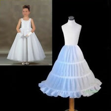 White Wedding Flower Girls Petticoat Children Underskirt Slips 3 Hoops Dress