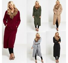 WOMENS FUR COLLAR BELTED WATERFALL DRAPED LONG COAT LADIES CAPE TRENCH JACKET