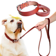 Genuine Plain Leather Dog Collar and Leash Set Best for Large Dogs Walking S-XXL
