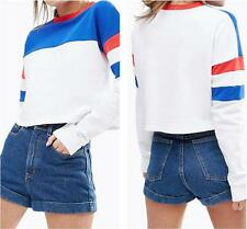 NWT WILDFOX White Stripe Women Sweaters Long sleeves Printing Loose Sweater