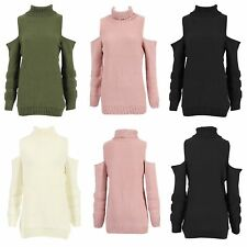 NEW WOMENS LADIES LONG SLEEVE POLO NECK CUT-OUT COLD SHOULDER JUMPER KNITTED TOP