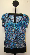 Susan Lawrence Blue and Black Womens Cap Sleeve Crew Neck Blouse - Sizes S or L
