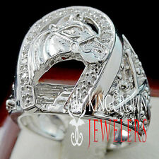 STERLING SILVER MENS 14K GOLD FINISH LAB DIAMOND LUCKY HORSESHOE PINKY RING BAND