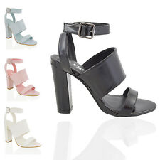 WOMENS BLOCK HEEL STRAPPY SANDALS LADIES CHUNKY PEEP TOE PARTY SHOES SIZE 3 - 8