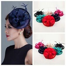 Handmade Wedding Races Sinamay Fascinator Church Derby Flower Feather Hat