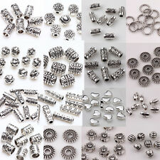 50/100pcs Silver Plated Loose Spacer Beads Jewelry Making Findings DIY Crafts