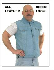 Mens Motorcycle Biker Genuine Leather Vest with Denim Look Size S-3XL New
