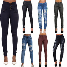 Womens Ladies High Waist Ripped Jeans Stretch Denim Plus Size 14 16 18 20 22