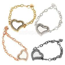 Crystal Rhinestone Love Heart Chain Bracelet Bangle