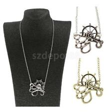 Steampunk Vintage Octopus Anchor Long Pendant Chain Necklace Sea Animal Jewelry
