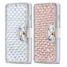 Luxury Bling Rhinestone Diamond Crystal Bow Wallet Leather Case For LG Phones