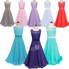 Girls Flower Lace Bridesmaid Party Princess Prom Wedding Christening Gown Dress