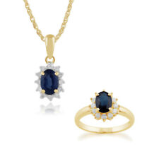 Gemondo 9ct Yellow Gold Sapphire & Diamond Oval Cluster 45cm Necklace & Ring Set
