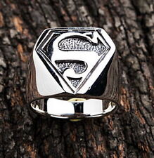 NEW 100% SUPERMAN 925 STERLING SILVER MEN RING ACCESSORIES