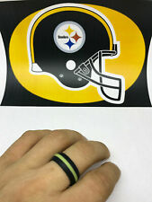 SAR - SAFE ACTIVE RINGS 8mm Black and Yellow Steelers Silicon Wedding Band Ring