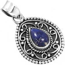Natural Lapis Gemstone Pendant 925 Sterling Silver Collectible Jewelry zc11002