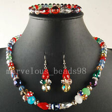 Multicolor Crystal faceted beads  Necklace Bracelet Earrings Set G6005