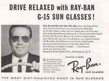 1957 Ray Ban G-15 Sun Glasses: Drive Relaxed Print Ad (19503)