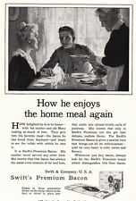 1918 Swifts Premium Bacon: How He Enjoys the Home Meal Again Print Ad (23681)