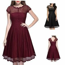 50'S 60'S Women Vintage Style Lace Swing Pinup Cocktail Party Cap Sleeve Dress