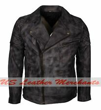 Brando Biker Motorcycle Vintage Distressed Grey Wax Real Leather Jacket