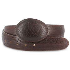 New Mens Chocolate Exotic Cowboy Western Elephant Print Leather Belts Size 32-48