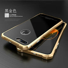 Luphie Aluminum Metal Frame + Tempered Glass Back Case For iPhone 7/7 Plus