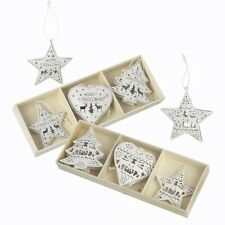 Six Intricate White Hanging Christmas Decorations Stars Heart Trees Xmas Wishes