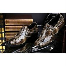 Mens Pointy Toe Snakeskin Slip On Loafer Business Shoes Casual Leather Fashion J