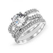 Bling Jewelry 925 Silver Round CZ Double Band Engagement Wedding Ring Set