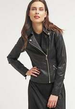 Women Bomber Leather Coat Black Genuine Lambskin Motorcycle Jacket XS-2XL FB228