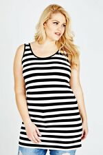 Plus Black & White Stripped Longline Vest Top 16-36