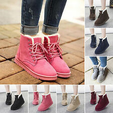 Women Flat Lace Up Fur Lined Winter Warm Martin Boot Snow Ankle Boot Casual Shoe