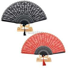 Vintage Womens Flower Lace Bamboo Hand Held Fan Dancing Party Wedding Party Accs