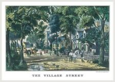 Currier And Ives The Village Street Victorian Americana Home Wall Decor Poster