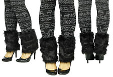 black Girls Women Boot Cuff Fluffy Furry Faux Fur Leg Warmers Boot Toppers