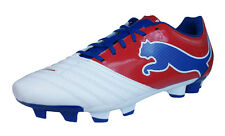 Puma PowerCat 3.12 FG Mens Leather Football Boots / Cleats - White Red