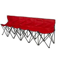 6 Seat Folding Bench Sports Sideline Chair, Portable Carrying Case, Strong Nylon