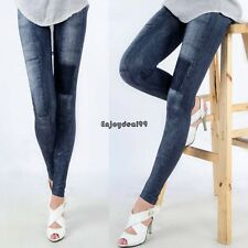 Womens Slim Denim Look Sexy Skinny Leggings Jeans Jeggings Stretch Pants OO55