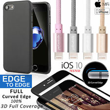 Premium 3D Full Coverage Glass Screen/Braided Lightning Cable+Case For iPhone 7