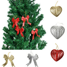 10 Christmas Seasonal Festive Party Glitter Love Bowknot Hanger Tree Decorations