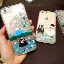 hot Cute Bear cartoon Kumamon Liquid Glitter case cover for apple iphone 6S plus
