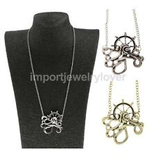 Vintage Octopus Anchor Crystal Pendant Chain Necklace Steampunk Unisex Jewelry